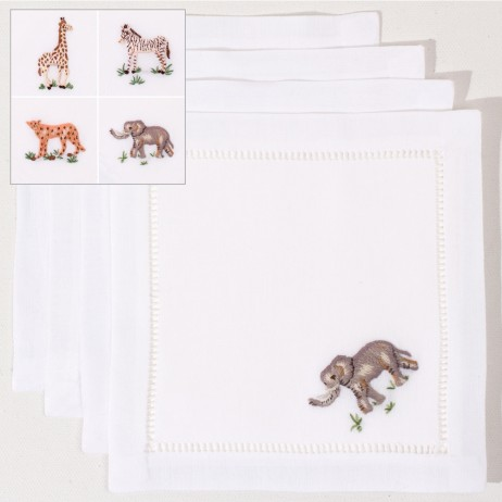 African Animals Cotton Cocktail Napkins (Set of 4) By Henry Handwork