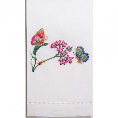 Butterflies & Flowers Cotton Guest Towels (Set of 4) By Henry Handwork