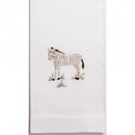 Zebra Cotton Guest Towels (Set of 4) By Henry Handwork